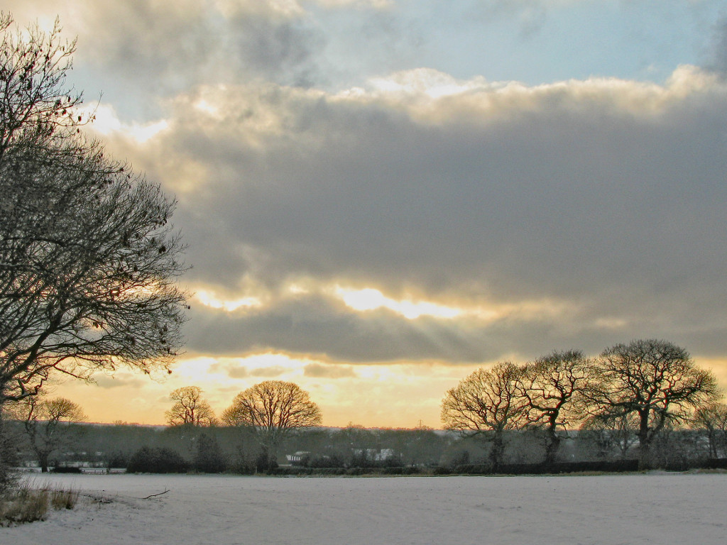 snow sunset, Warwickshire